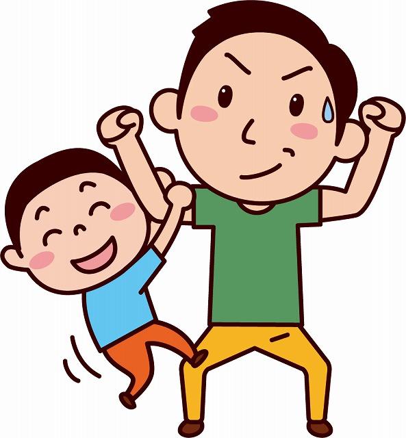 子供を腕にぶら下げる画像